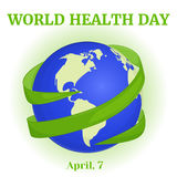 World Health Day background with green ribbon around globe in cartoon style. Vector illustration for you design, card Royalty Free Stock Photo