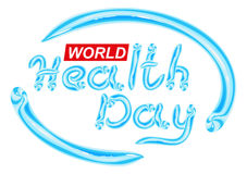 World Health Day. Blue Toothpaste lettering text Stock Photo