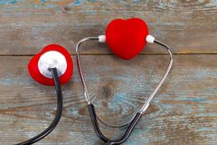 World health day campaign with red love heart and medical docto. R`s stethoscope, first aid concept royalty free stock photography