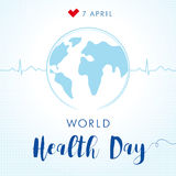 World Health Day cardio globe card Stock Image