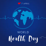 World Health Day cardio globe navy blue Royalty Free Stock Photography