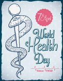World Health Day Commemorative Retro Poster, Vector Illustration. Retro poster for World Health Day with a rod of Asclepius in hand drawn style Royalty Free Stock Photography