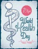 World Health Day Commemorative Retro Poster, Vector Illustration Royalty Free Stock Photography