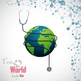 World health day concept with DNA and globe. Illustration of World health day concept with DNA and globe Stock Illustration