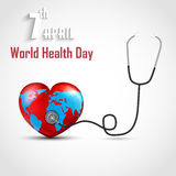 World health day concept with DNA and globe inside a heart Stock Photos