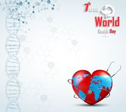 World health day concept with DNA and globe inside a heart. Illustration of World health day concept with DNA and globe inside a heart Vector Illustration