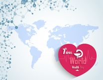 World health day concept with DNA and a heart. Illustration of World health day concept with DNA and a heart Royalty Free Illustration