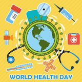 World health day concept with earth globe. Royalty Free Stock Image