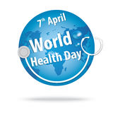 World health day. concept with the earth and stethoscopes smile Stock Photography