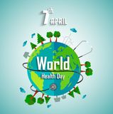 World health day concept with environmental of earth stock illustration