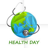 World Health Day concept with globe and stethoscope. Royalty Free Stock Photos