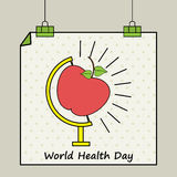 World Health Day concept with hanging poster. Stock Photos