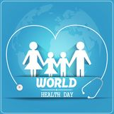 World health day concept with healthy family under stethoscope and globe Stock Photography