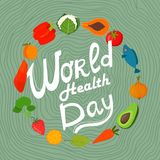 World health day concept with  healthy food. Design in a colorfu Royalty Free Stock Images