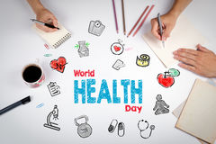 World health day concept. Healty lifestyle background. The meeti. Ng at the white office table Stock Image