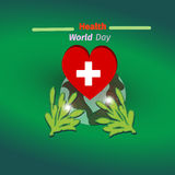World health day concept with heart and green plant. Design in a colorful style Royalty Free Stock Photography