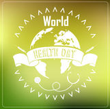 World Health Day concept with typography ribbon on green background Stock Photos