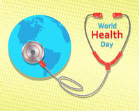 World health day concept on yellow background. Vector illustration.  Vector Illustration