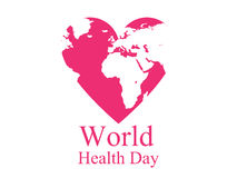 World health day. Continents and heart. Festive banner. Vector Royalty Free Stock Photos