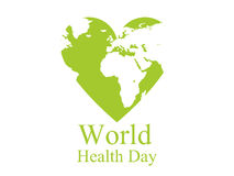 World health day. Continents and heart. Festive banner. Vector Royalty Free Stock Image