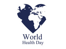 World health day. Continents and heart. Festive banner. Vector Stock Photography