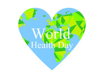 World health day. The continents of the planet earth in the heart. Festive banner. Vector Royalty Free Stock Photos