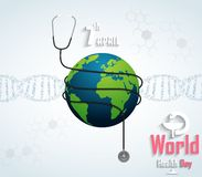World Health Day with DNA on white background. Illustration of World Health Day with DNA on white background Vector Illustration