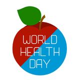 World Health Day. Earth and an apple. Divided diagonally. Text with the name of the holiday Stock Photo