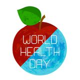 World Health Day. Earth and an apple. Divided diagonally. Text with the name of the holiday. Grunge effect Stock Photography