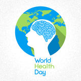 World Health Day Earth Planet Human Head Brain Royalty Free Stock Photography