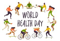 World Health Day. Healthy lifestyle. Roller skates, running, bicycle, run, walk, yoga. Active young people. Vector Stock Photo