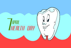 World Health Day Healthy White Tooth. Flat Vector Illustration Stock Images