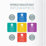 World Health Day infographics template. Vector Diagram with 5 o. Ptions. Part of the report with icons set Royalty Free Stock Photos