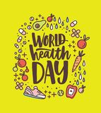 World Health Day lettering handwritten with calligraphic font surrounded by fruits, vegetables, pills, vitamins and stock illustration