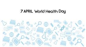 World Health Day Medicine Banner Sketch Background Stock Image