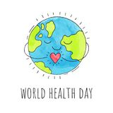 World health day. Planet Earth with a heart. Hand drawn illustration. Vector background. World health day. Planet Earth with a heart. Hand drawn illustration Royalty Free Stock Photo