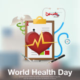 World Health Day poster or banner background with planet and green tree. Stock Photo