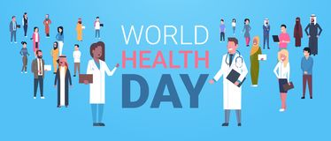 World Health Day Poster With Male And Female Doctors Over Group Of Patients Healthy Holiday Banner. Flat Vector Illustration Royalty Free Stock Images