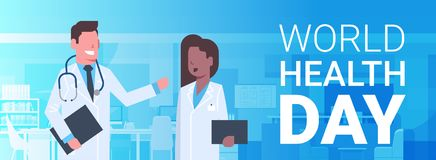 World Health Day Poster With Male And Female Medical Doctors Over Silhouette Hospital Background Horizontal Banner. Flat Vector Illustration Stock Image