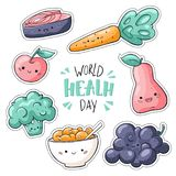 World health day stickers pack. World health day sign. Healthy food stickers collection in doodle style: salmon, muesli royalty free illustration