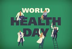 World Health Day 7th april with the image of doctors. Vector illustrations. World Health Day 7th april with the image doctors. Vector illustrations Stock Illustration