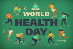 World Health Day 7th april with the image of doctors. Vector illustrations. Active young people. Healthy lifestyle. Roller skates, running, bicycle, run, walk Stock Illustration