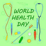 World health day. Vector illustration on both healthy lifestyle and medical healthcare with cucumber, carrot, jump rope, tennis ball, ski pole, pill , tablet Royalty Free Stock Photography