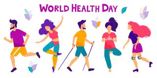 World health day vector illustration. Healthy lifestyle concept. Different physical activities. World health day vector illustration. Healthy lifestyle concept royalty free illustration