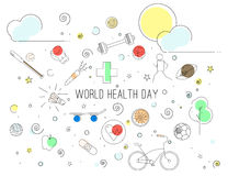 World health day. Vector Illustration of World Health Day in lineart style. Can be used as banner, poster, background Stock Photo