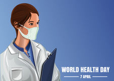 World Health Day. Woman medic on a blue background. World Health Day. April 7. Medical vector background with a nurse in a gauze bandage. Woman medic on a blue Stock Image
