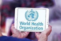 World Health Organization, WHO, logo. Logo of World Health Organization on samsung tablet . The World Health Organization WHO is a specialized agency of the royalty free stock images
