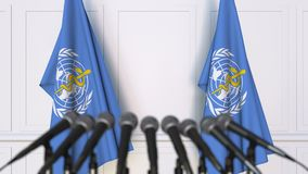 World Health Organization WHO official press conference. Flags and microphones. Conceptual editorial 3D animation