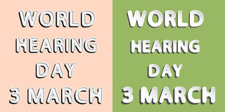 World Hearing Day. Rounded paper and retro style  font lettering of World Hearing Day 3 march Stock Images