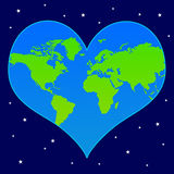 World heart. Heart shaped world in deep space (concept for caring about the earth and the environment Stock Image
